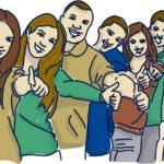 Gruppe-zeigt-Thumbs-up